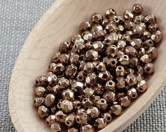 Gold Bronze Fire Polished Glass Beads 4mm (50) Czech Metallic Polish Faceted 4mm beads Czech faceted beads 4mm