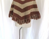 Vintage 70s womens knit poncho, beige brown fringe, pullover sweater, retro hippie woman, wool poncho