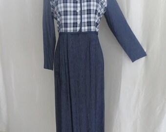 Vintage 80s womens dress, ladies dress, blue white stripe, checkered check, long sleeve maxi