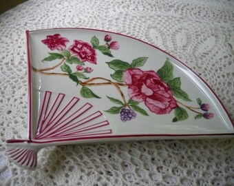 Vintage Sigma Fan Dish, Plumrose Taste Seller Plate, Ornate Floral Serving Dish, Party Table, Wedding Shower, Decorated  Plate made in Japan