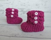Baby Slippers, Pink Booties, Baby Crocodile Stitch Slipper Booties, Magenta Slippers, Ready To Ship