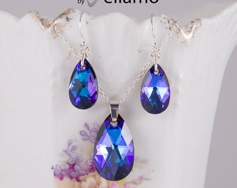 Gorgeous sparkly purple heliotrope effect Swarovski jewelry set, teardrop necklace and earrings, sterling silver purple, blue, violet