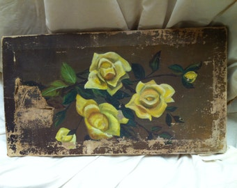 Vintage Painting Roses Oil Yellow French Victorian Edwardian Primitive Rustic Garden Texas