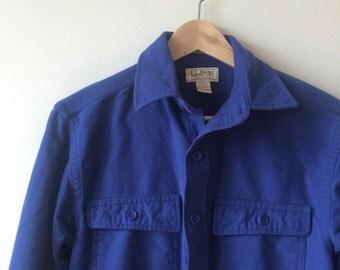 LL Bean Chamois Blue Shirt Jacket Mens Vintage Small
