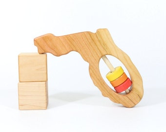Florida Baby Rattle™ - Modern Wooden Baby Toy - Organic and Natural