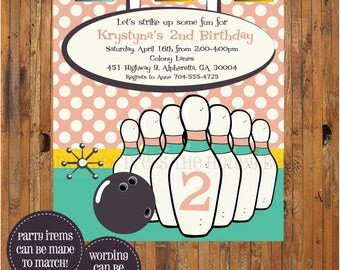 Bowling Invitation - Retro Bowling Invite - Bowling Birthday Party - Item 0295