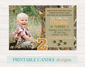 Deer Birthday Invitation, Hunting Birthday, Camo Invite, Lumberjack Party, Little Deer Invitations, Boy Birthday, Printable DIY