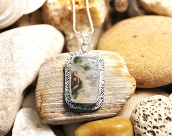 Reiki Attuned Ocean Jasper Silver Pendant Necklace