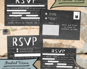 Funny Chalkboard Wedding RSVP Madlibs with Postcard Option - Response Card