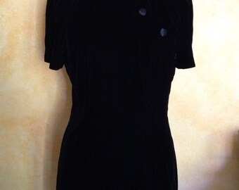 Maggy London Vintage Black Velvet Asian Mini Short Party Dress (8)