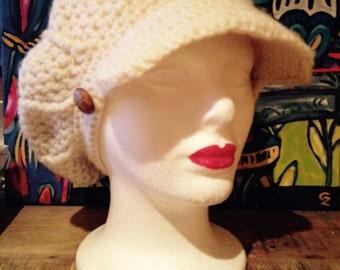 Cool Festival California Girl Vintage Crochet Ecru Winter White Cap With Brim One Size