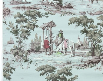 REMNANT of Vintage Wallpaper, Single 48 Inch Piece - Segmant of Scenic Wallpaper with Hunting Dogs on Aqua Blue