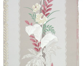 REMNANT of Vintage Wallpaper, Single 42 Inch Piece - Segmant of Botanical Wallpaper with Burgundy Green and White Floral and Leaf Stripe