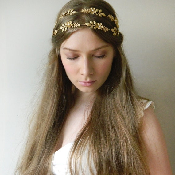 Golden Wildflower Double Hair Vine 'Astrea' – Grecian Botanical Brass Headpiece - style 021