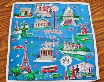 Vintage 1960s Souvenir Paris Hanky Hankie Handkerchief Eiffel Tower, Notre Dame, Moulin Rouge Le Sacre Coeur Arch de Triumph