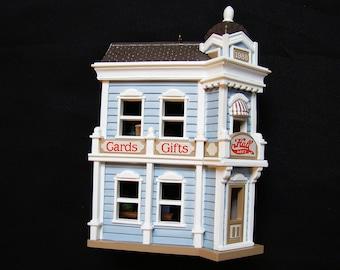 1988 Hallmark Christmas Ornament Hallmark Ornament Nostalgic Houses Hall Bro's Card Shop Miniature House #5 in Series in box