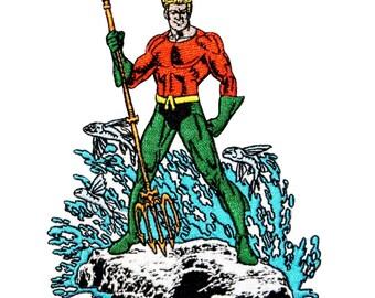 Aquaman Classic Super Friends Show Justice League Hero DC Iron-On Applique Patch