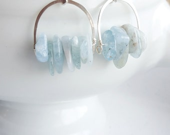 Sterling Silver Aquamarine Crescent Earrings