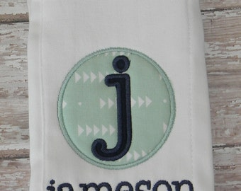 Personalized Embroidered Burp Cloth in Mint & Navy
