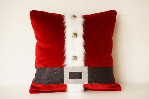 Items Similar To Santa Pillow Red Or Gray Holiday Pillows