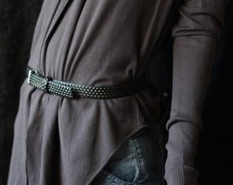 Unisex men women vintage grey plastic bubble textured hip waist belt