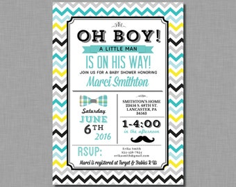 Mustache Baby Shower Invitation Little Man gray teal Mason BD01 Digital or Printed