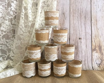 10x burlap and ivory lace covered votive candle holders with 10 FREE votive candles