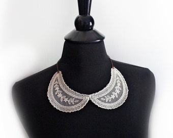 Vintage Lace Collar Necklace Antique Copper Chain Upcycled Handmade Unique