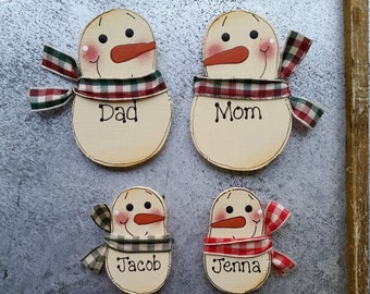 Magnets - Personalized family magnets - Snowman magnets - refrigerator magnets - family of 4 - office magnets