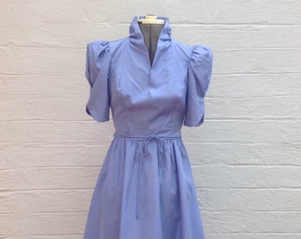 1980s Violet Satin Dress.  Tea Party.  Garden Party.