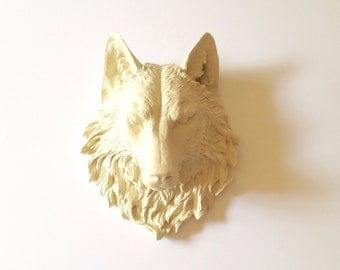 CREAM Large Faux Taxidermy Wolf Head wall mount wall hanging in cream, (off-white) / farm house decor / faux animal head / woodland / gift