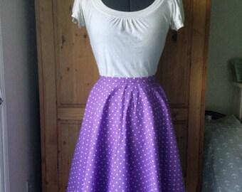 Adult Size Custom Knee Length Full Circle Skirt (midi) - vintage retro mod classy pinup swing fashion