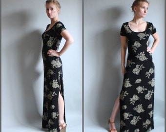 90s Slinky Maxi Dress Grunge Goth Black with Roses Slits