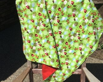 Flannel Baby Blanket / Kid Car Blanket / Shower Gift- Puppies, Dogs and Dog Houses, Personalization Available
