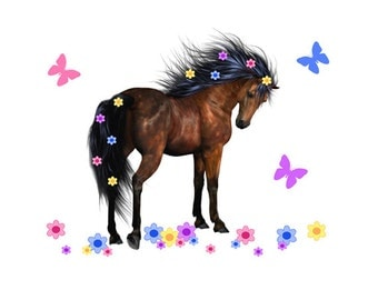 WILD HORSE MURAL Wall Art Stickers Decal Girls Pony Bedroom Decor Flowing  Floral Mane Kids Room