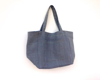 Extra Large Grey Natural Linen Tote Hand Made in UK