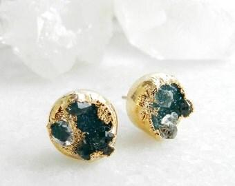ON SALE druzy earrings, diamond earrings, herkimer diamond earrings, herkimer diamond, diamond studs, gold earrings, gifts for her