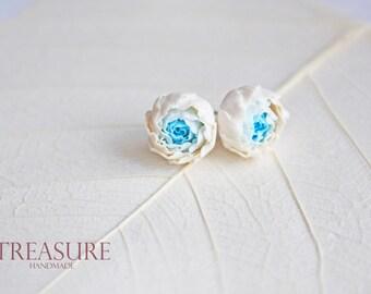 Blue flower studs, blue bridesmaid gift, blue braidsmaid studs, blue wedding jewelry, light blue flower studs, sterling silver flower studs