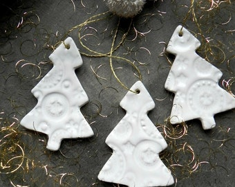 White Christmas Tree Ornaments Lace Ceramic Winter Home Decoration Gift Set of 3