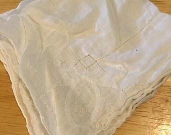 Antique White on White Handkerchief