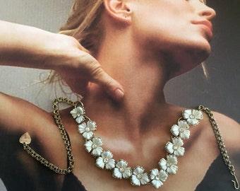 Retro Flower Necklace, White Spring Bridal Vintage Rhinestone Plastic 1950 1960's