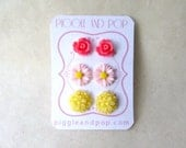 Pink and Yellow Earring Set. Resin Flower Earrings. Bubblegum Pink Rose Studs Light Pink Daisy Earrings Yellow Flower Studs. Spring Jewelry