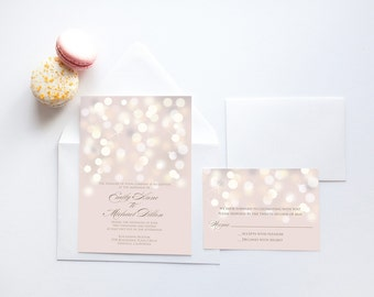 Printable Wedding Invitation - Glittering Lights -  Champagne, Ecru, Cream Wedding Invitation, Sparkle Wedding Invitation