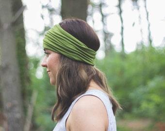green, olive,  boho, bohemian, wide head wrap, hippie headband, yoga headscarf, women's accessories
