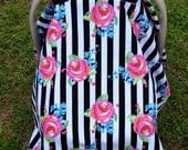 Car Seat Cover in Black and White Stripes with Flowers Striped Cover. Neon Floral Canopy. Black and White. Stripes and Floral. Baby Girl Car