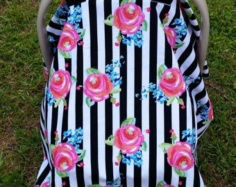 Car Seat Cover in Black and White Stripes with Flowers / Neon Floral Canopy/ Black and White / Stripes and Floral / Floral on Stripes