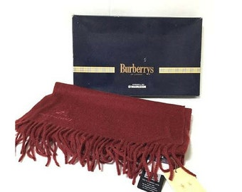 New with tag. Vintage Burberrys wine Bordeaux color cashmere 100% long scarf, stole. Made in England. Unisex.