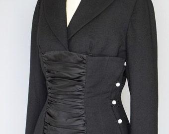 1940s Lilli Ann Black Shirred Satin Jacket