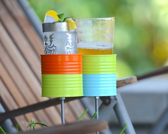 Pair of Shorty Two Tone Hobo Tin Can Drink Holders, Beverage Holder Stakes, Garden Beer Caddies, Ready to Ship