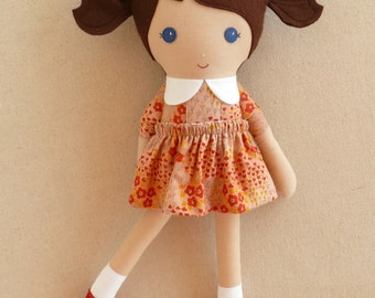 Fabric Doll Rag Doll Brown Haired Girl in Tan and Red Floral Dress
